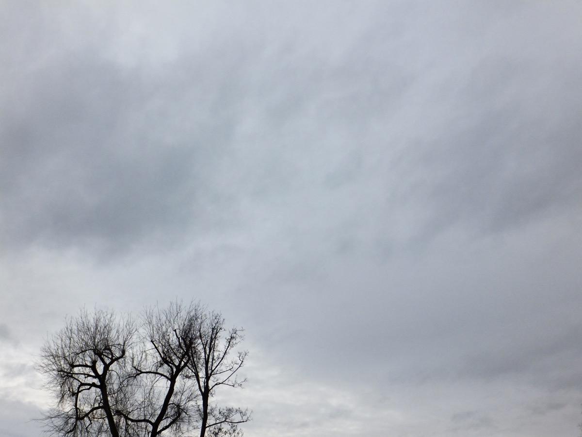 Stark bewölkter Himmel mit unterschiedlichen Grautönen, im Vordergrund links ein unbelaubter Baum
