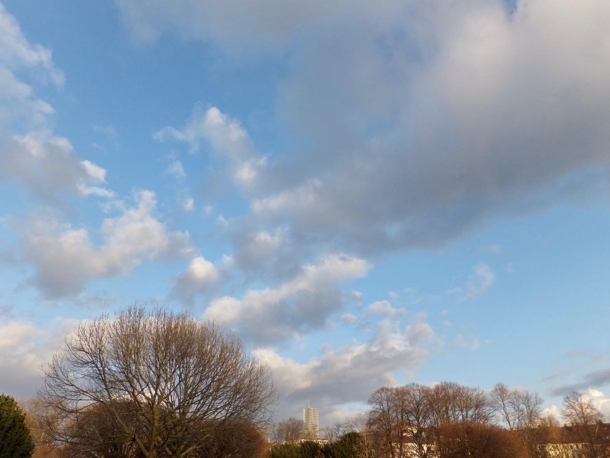Einzelne zerfetzte Cumulus-Wolkenan bläulichem Himmel, unten Parklandschaft mit Bäumen