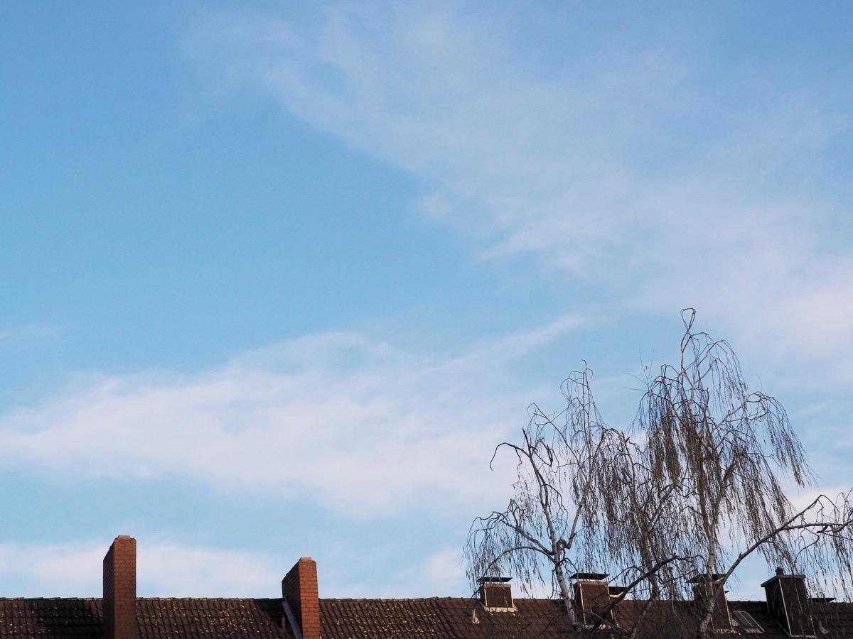 Dünne Schleier-Wolken vor hellblauem Himmel, unten ein Dach und eine unbelaubte Birkenkrone
